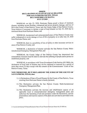 7.25.2020.  Declaration State of Local D