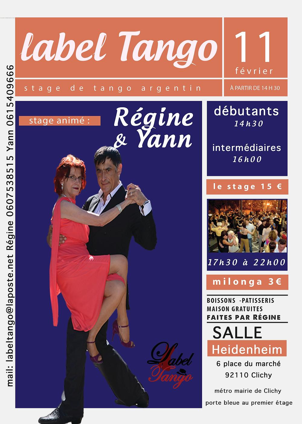 label tango stages du 11 frevier 2018 à Clichy