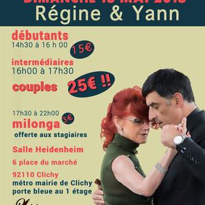 stages de tango argentin et milonga du 13 mai à Clichy