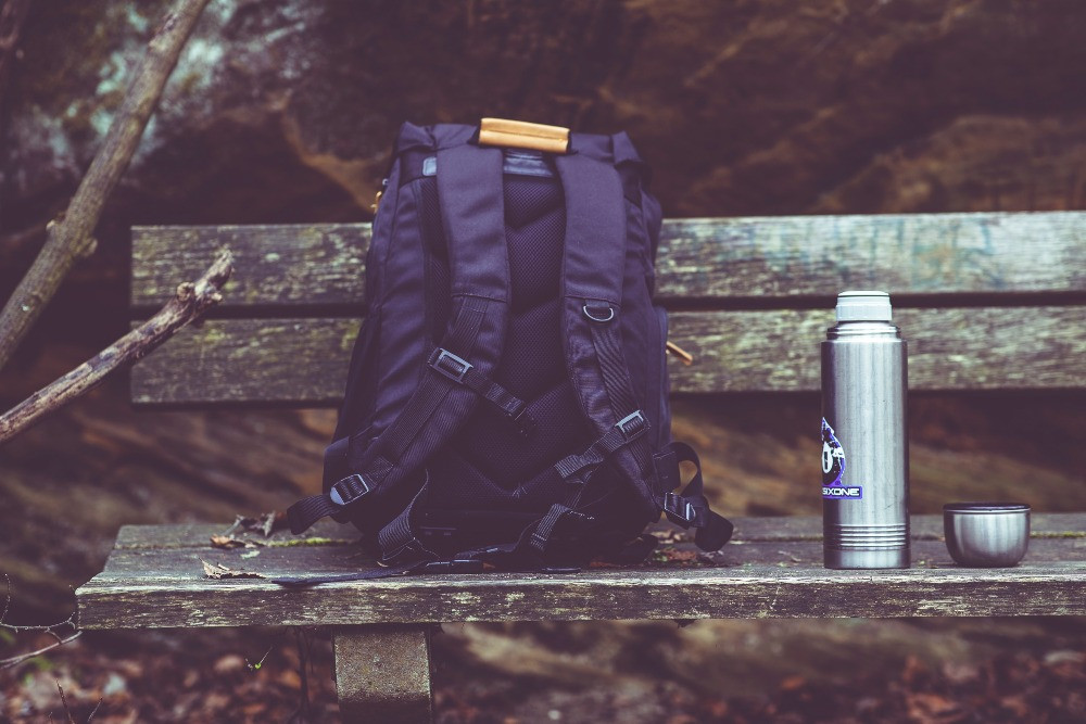 Daypack on bench
