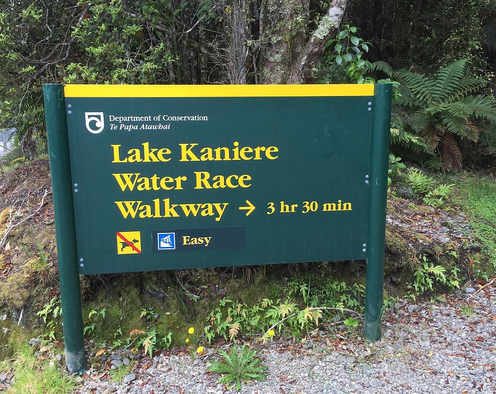 Lake Kaniere Water Race Sign
