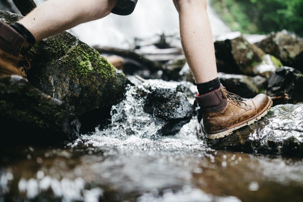 Person crossing river