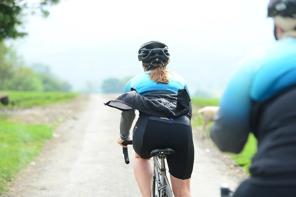 Women in cycling pants