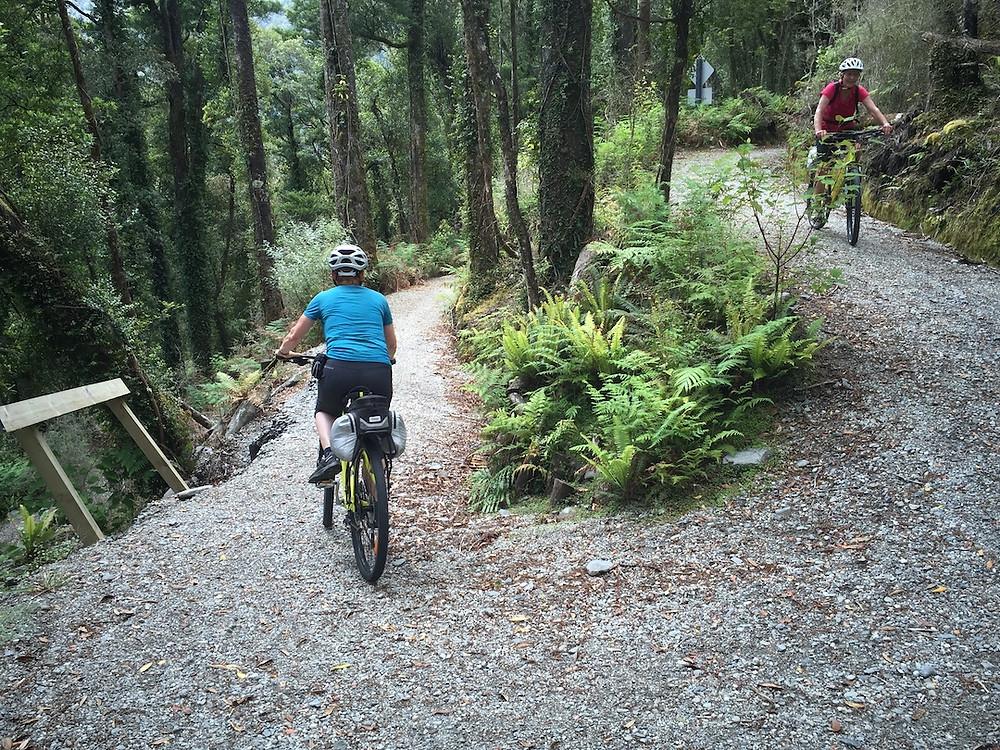 Cyclist near Cowboy Town on the West Coast Wilderness Trail
