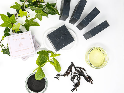 Charcoal and peppermint seaweed soap