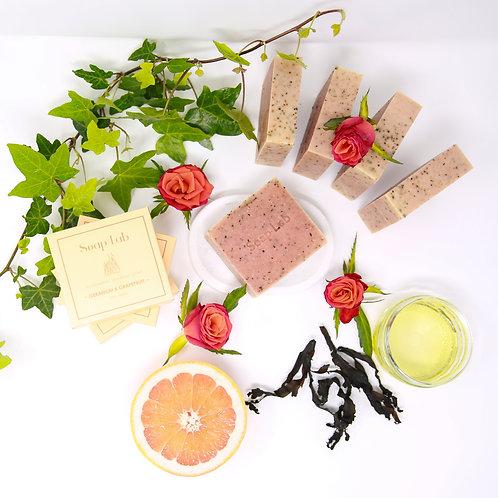 Rose geranium and pink grapefruit seaweed soap