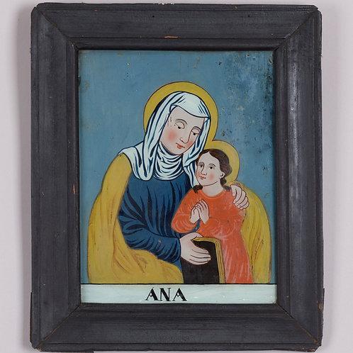 78. Slika na steklo: Sveta Ana uči Marijo brati