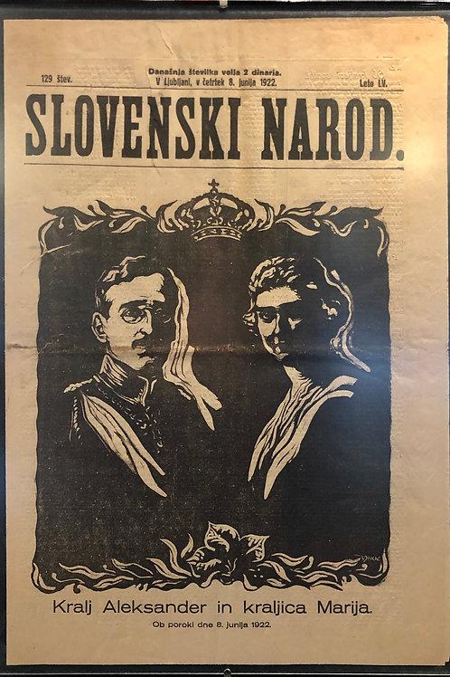 Božidar Jakac: Naslovnica Slovenskega naroda 1922