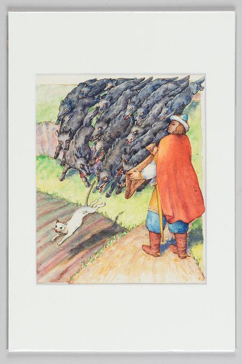 46. Tone Kralj: Ilustracija za pravljico o carjeviču Jeruslanu