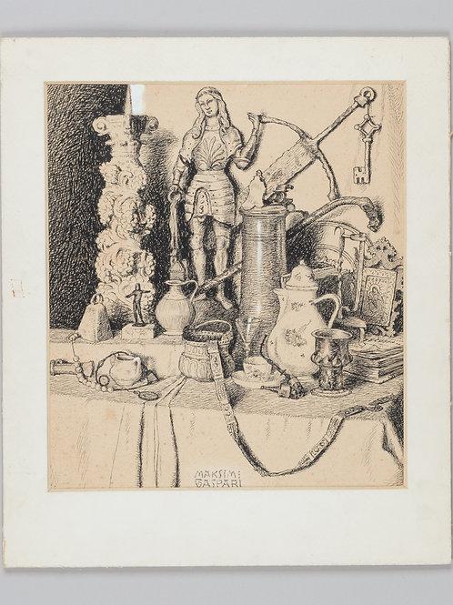 42. Maksim Gaspari: Tihožitje (detajl iz Sadnikarjevega muzeja v Kamniku)