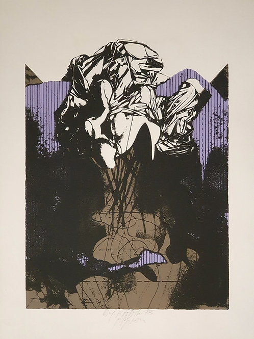 Gorazd Šefran: Abstrahirana figura na vijoličnem