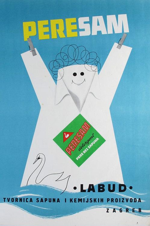 95// Perisam detergent pere bez sapuna - plakat Labud – Tvornica sapuna i kemij