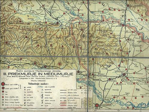 111. Zemljevid Prekmurja in Međumurja iz leta 1925