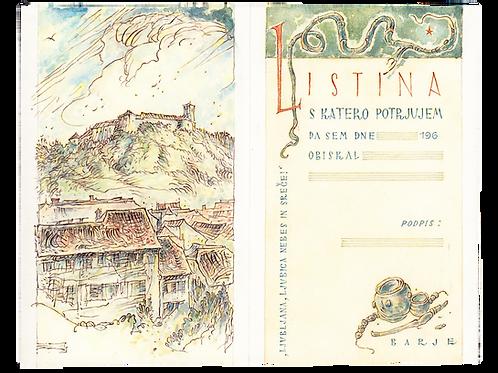 112// Elo Justin:  Barvni osnutki – Listina o obisku Ljubljane, Bled, ex libris