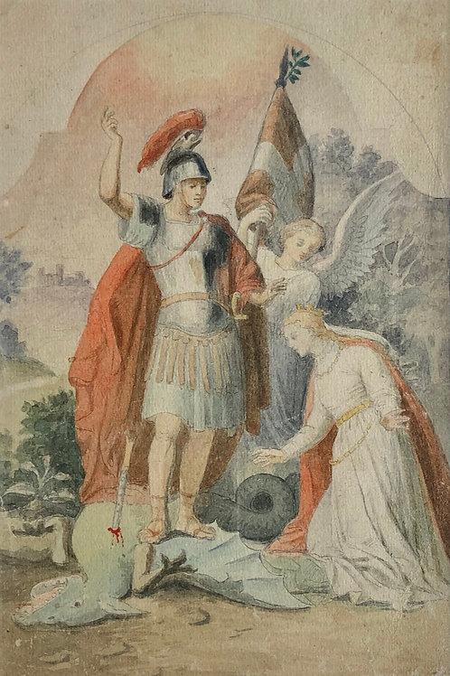 NN: Sv. Jurij ubija zmaja (skica za oltarno sliko)