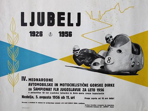136// Ljubelj 1926–1956 - plakat IV. Mednarodne avtomobilske in motociklistične