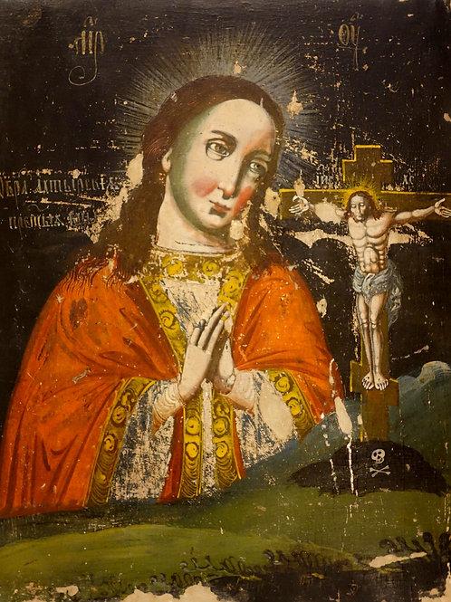 Marija in križani z rdečimi lički