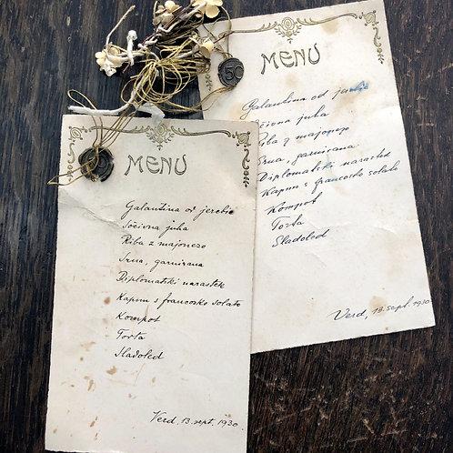 Dva menuja slavnostnega kosila ob petdesetletnici na Verdu, 13. septembra 1930