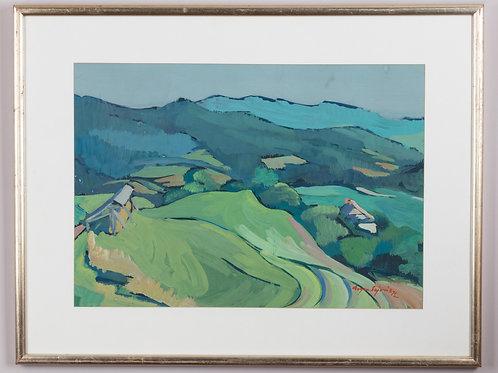 64. Evgen Sajovic: Zelena pokrajina s kozolcem