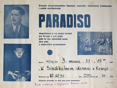 137// Paradiso - plakat Poznati eksperimentator hipnoze, sugestije, vidovitosti