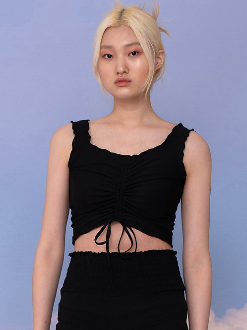 Ruched TOP BLACK