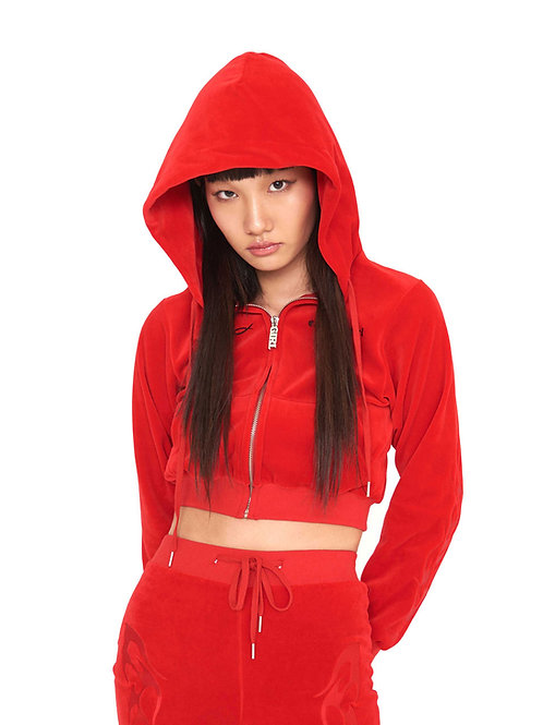 Velvet Flame Hoodie Zip-up RED (shipped on 24th)