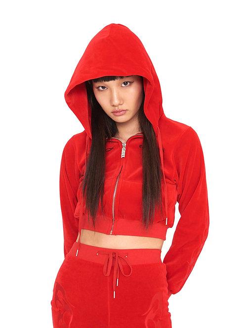 Velvet Flame Hoodie Zip-up RED