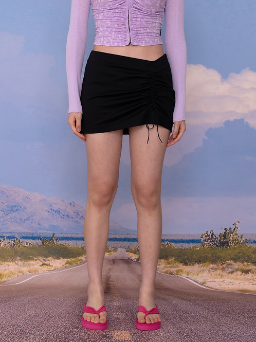 Low Ruched Skirt BLACK