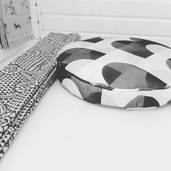 Piped boxed round cushion cover and roman blind ready to deliver