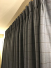 Triple pleat wool curtains, interlined, lined and hand stitched