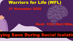"Peer-to-Peer Support with Warriors for Life (WFL) TONIGHT - ""Staying Sane During Social Isolation!"""