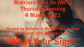 "Join Derrick TONIGHT for Warriors for Life (WFL) - ""What's Your Sign!"""