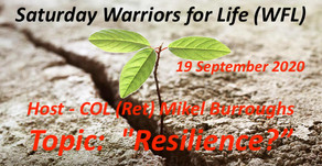 "Join Us TONIGHT for Warriors for Life (WFL) - Topic:  ""Resilience!"""