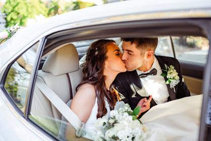 Wedding Car Kiss