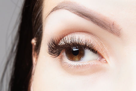 Brown eye with beautiful long lashes clo