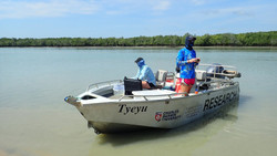 eDNA sampling in the mouth of South Alligator River, Kakadu, Northern Territory. Photo credit Pete K
