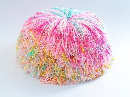 Dreamy Rainbow Pom Pom Pouf