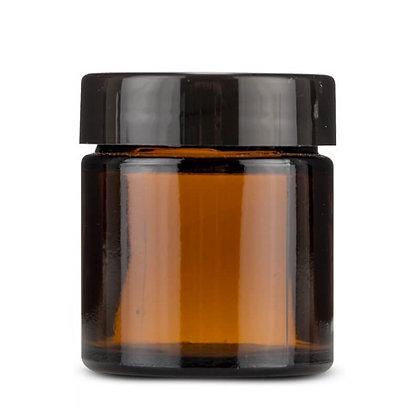 Pot en verre ambré avec couvercle noir