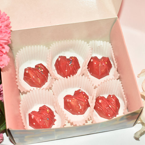 Chocolate Red & Golden Geometric Hearts- box of 6 pieces