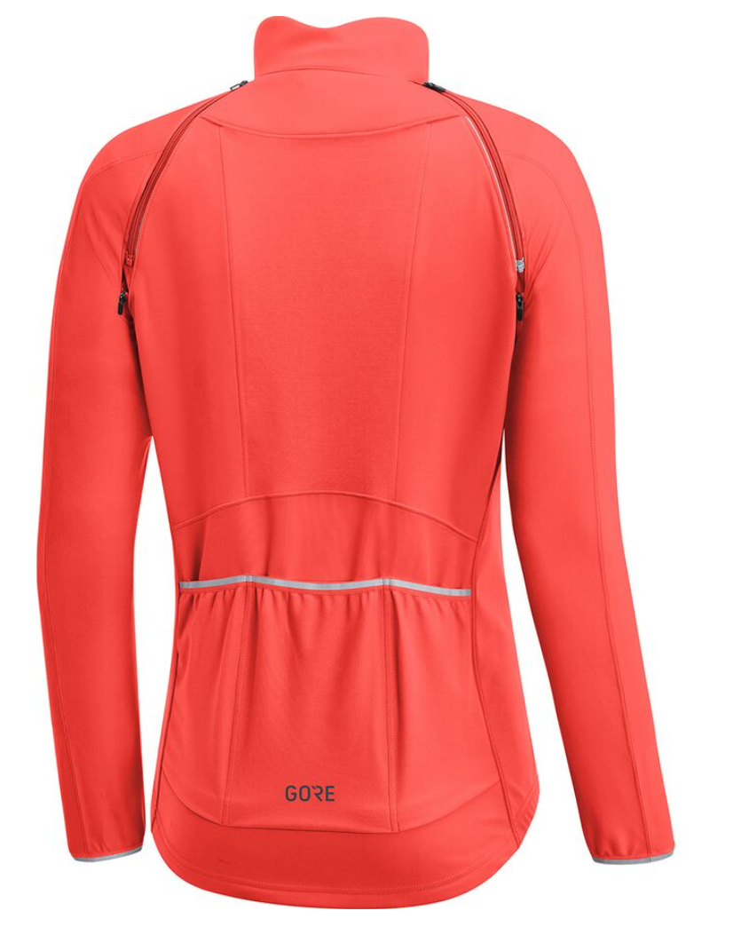 Red cycling jacket with 3 pockets on the back