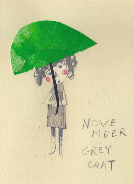 Mit dem Schirm.