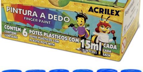 TINTA PINTURA A DEDO C/6 CORES SORTIDAS 15ML NA CAIXA 11315 ACRILEX
