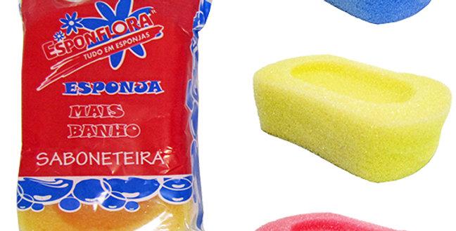 ESPONJA / BUCHA DE ESPUMA PARA BANHO MODELO SABONETEIRA COLORS 120X80X35MM