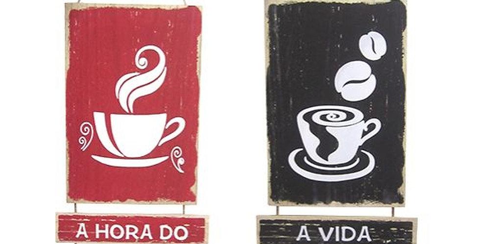Enfeite Quadro Decorativo de Mdf Frases Cafe 55,5x23,5cm