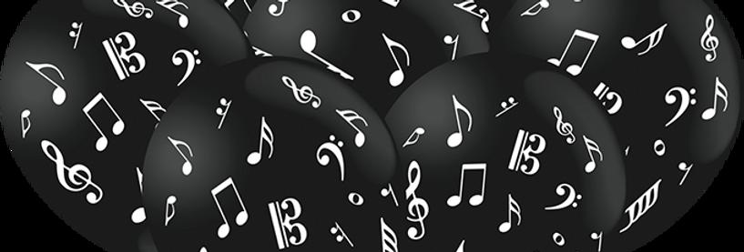 BALAO DECORADO NOTAS MUSICAIS 25 UN FEST COLOR