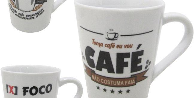CANECA DE PORCELANA FRASES CAFE 220ML