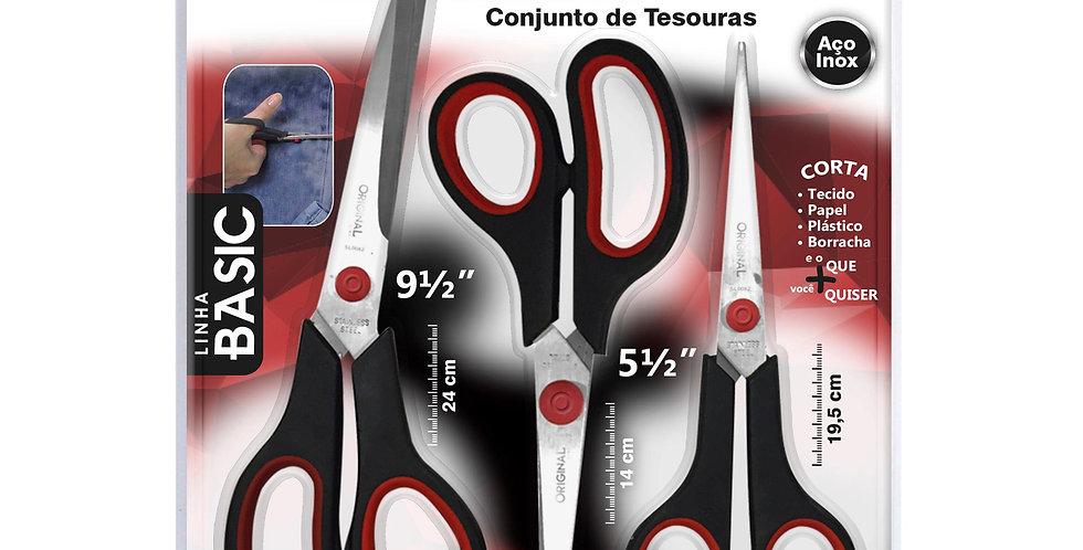 Kit Tesouras Multi Funções Cabelo, Papel e Tecido Aço Inox Original Line