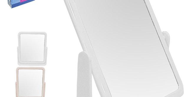 ESPELHO DE MESA RETANGULAR DUPLA FACE C/BASE DE PLAST. COLORS 20,8X18,2X4,5CM