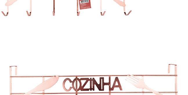 CABIDE / GANCHO PARA PORTA ARAMADO COZINHA METALIZADO COBRE / ROSE GOLD COM 6 GA