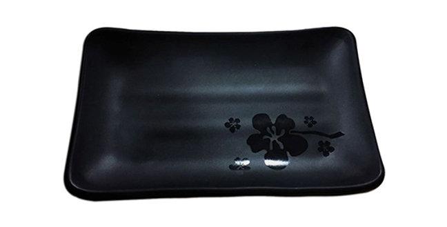 TRAVESSA DE MELAMINA JAPONESA RETANGULAR BLACK KANPAI 18X11CM